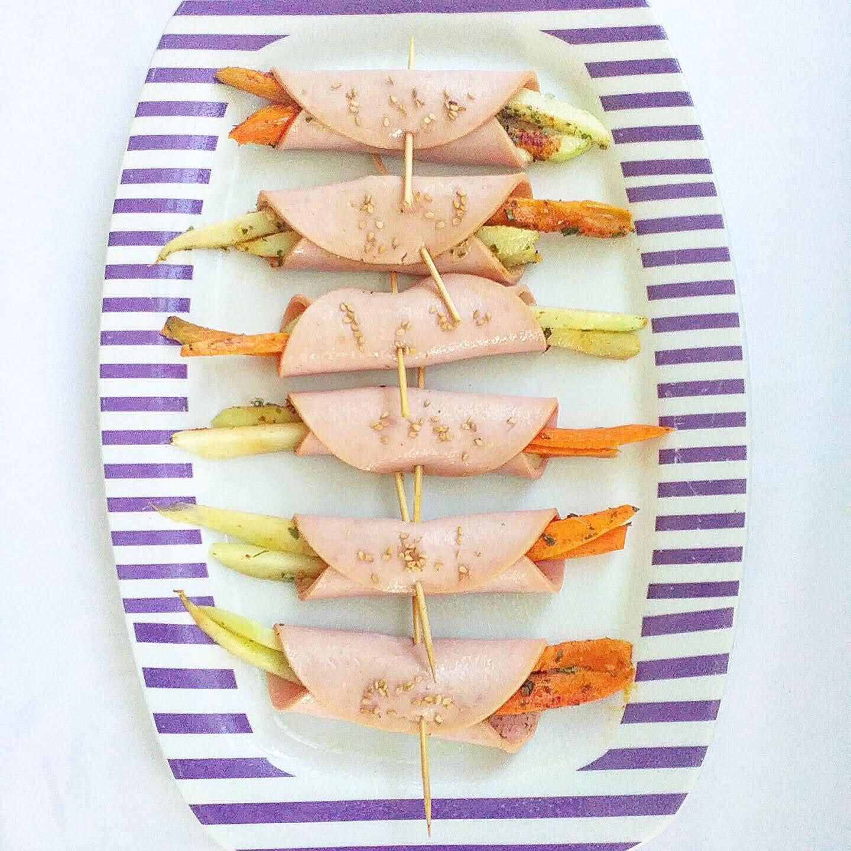 Roulades de jambon de dinde aux légumes